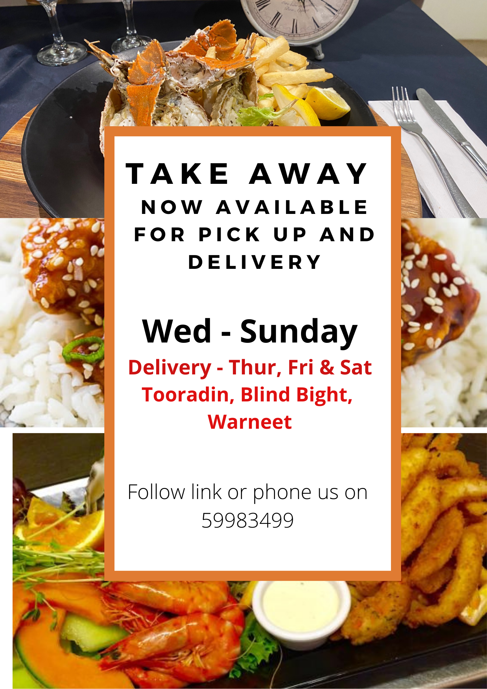 TAKE AWAY NOW AVAILABLE FOR PICK UP AND DELIVERY